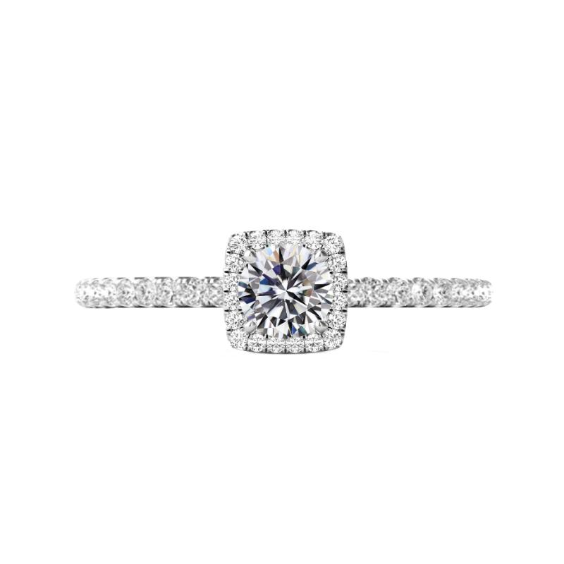 0.60 Carat Round Diamond & Cushion Halo Engagement Ring
