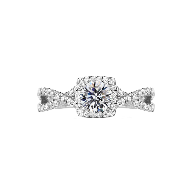 0.50 Carat Round Diamond & Cushion Halo Twisted Band Ring