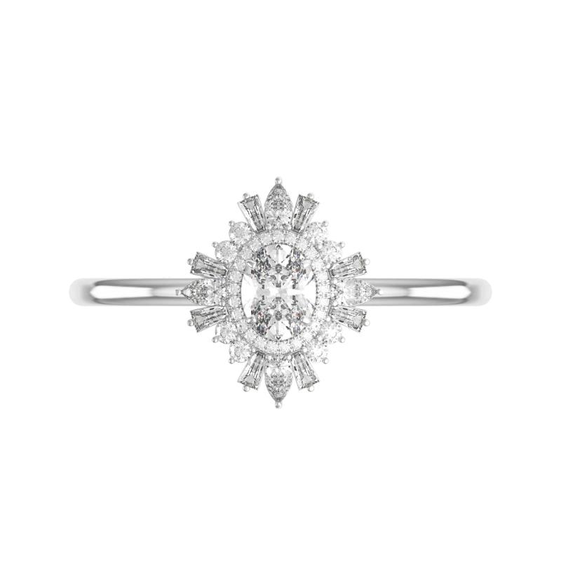 0.60 Carat Oval Diamond & Art Deco Halo Ring