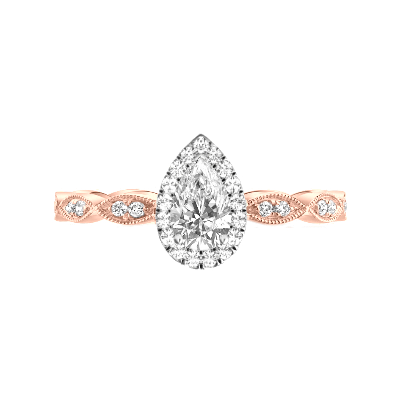 0.75 Carat Pear Diamond & Halo Marquise Band Ring