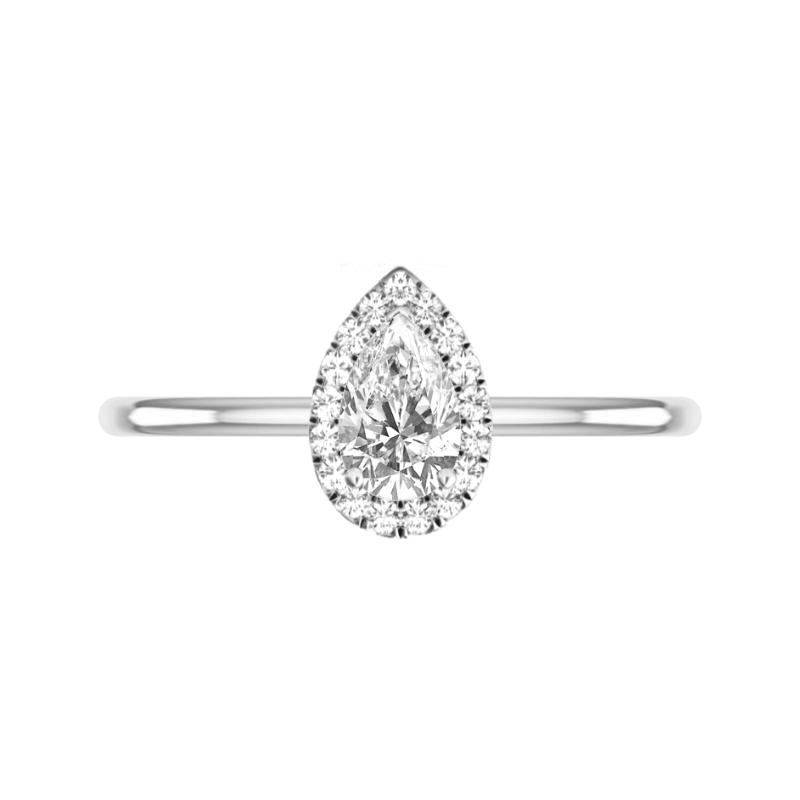 0.75 Carat Pear Diamond & Halo Solitaire Ring