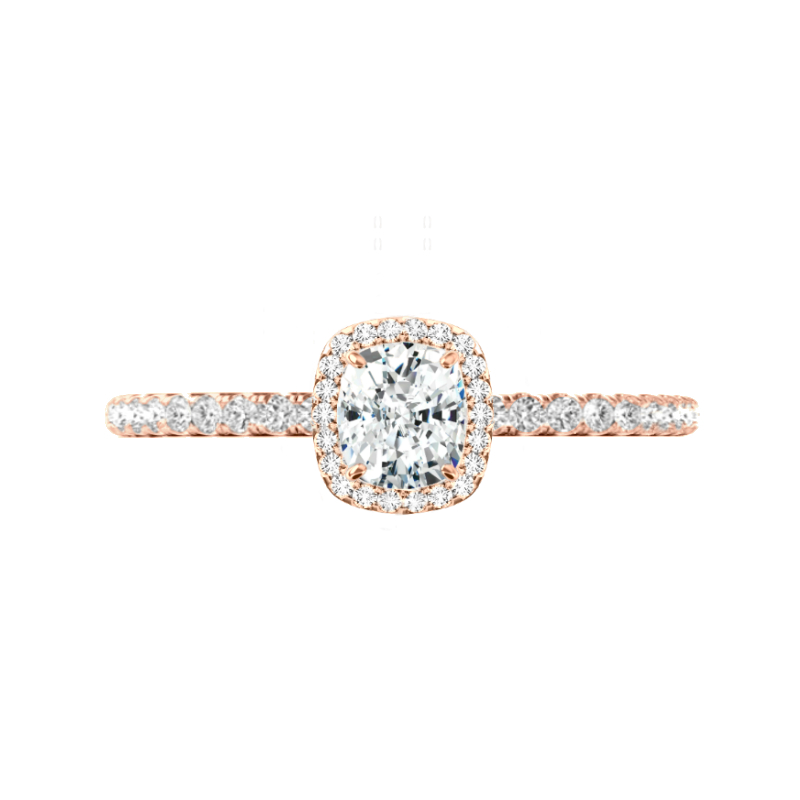 0.80 ct Cushion Diamond & Halo Engagement Ring Rose Gold