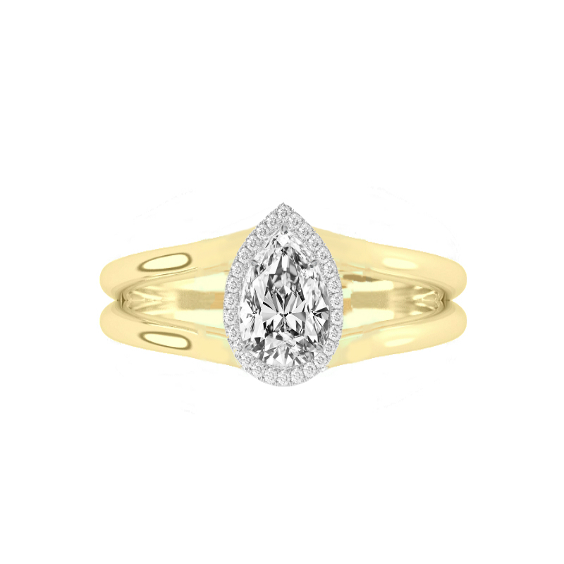 0.80 Carat Pear Diamond & Halo Split Band Solitaire Ring