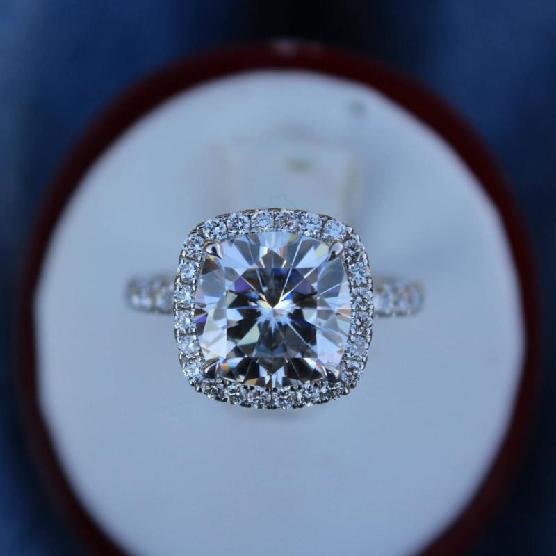 5 Carat Cushion Forever One Moissanite & Diamond Halo Ring