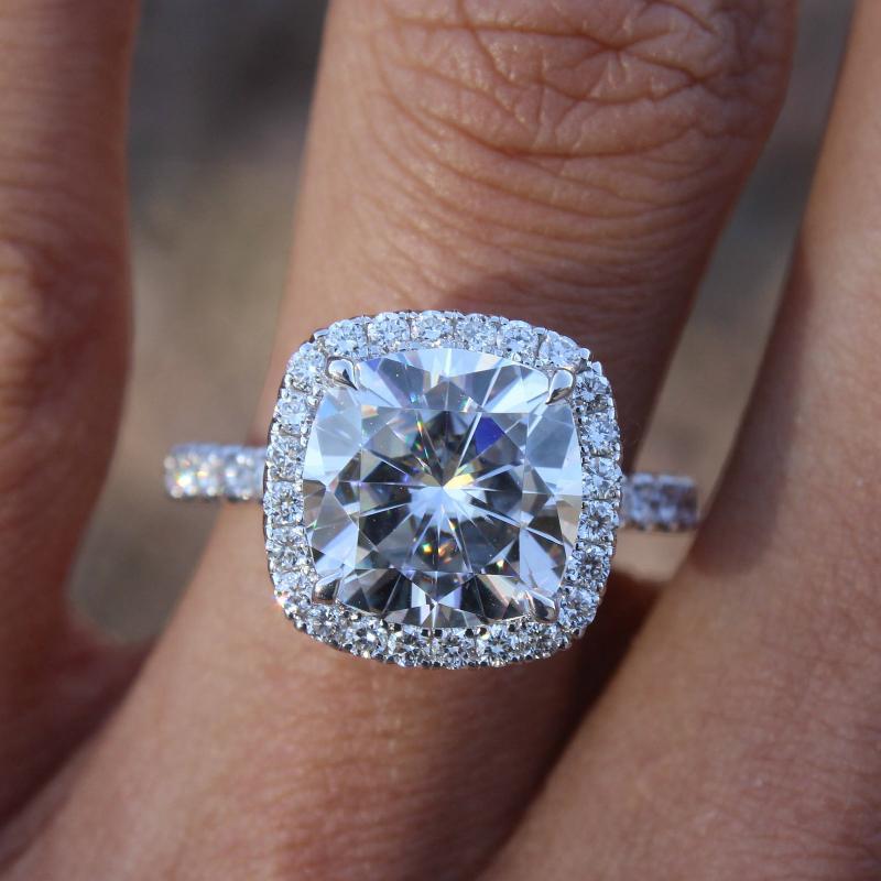 5 Carat Cushion Forever One Moissanite & Diamond Halo Ring