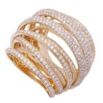 Diamond Crossover Fashion Ring 14k Yellow Gold