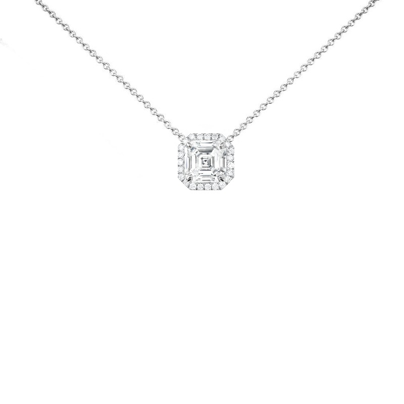 1.00 Carat Asscher Diamond & Halo Necklace