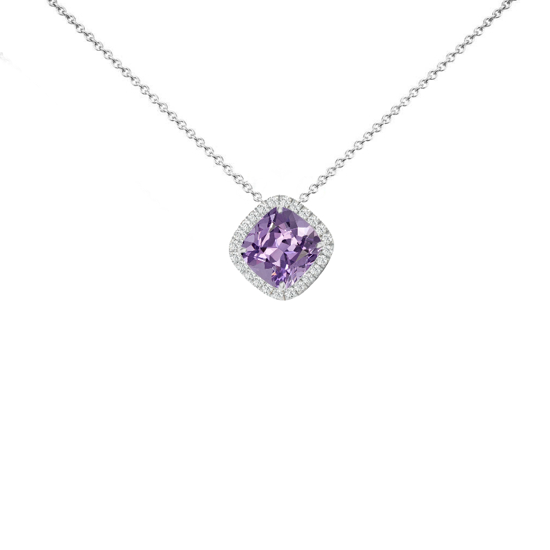 1 ct Cushion Pink Amethyst & Diamond Halo Diagonal Pendant