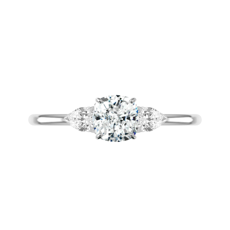 1.30 Carat Cushion Diamond & Pear Three Stone Ring