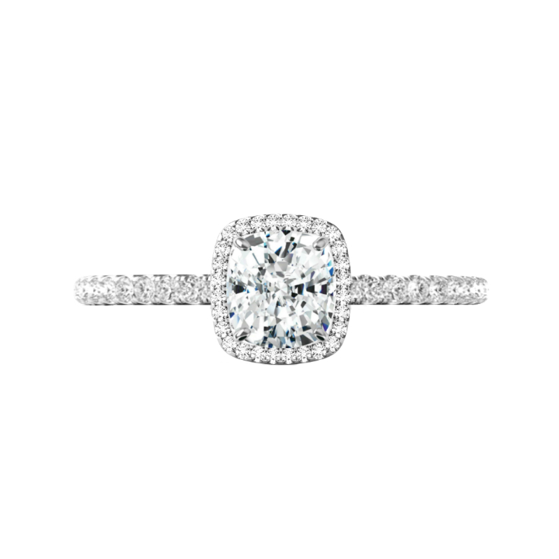 1 Carat Cushion Diamond & Double Edge Halo Ring
