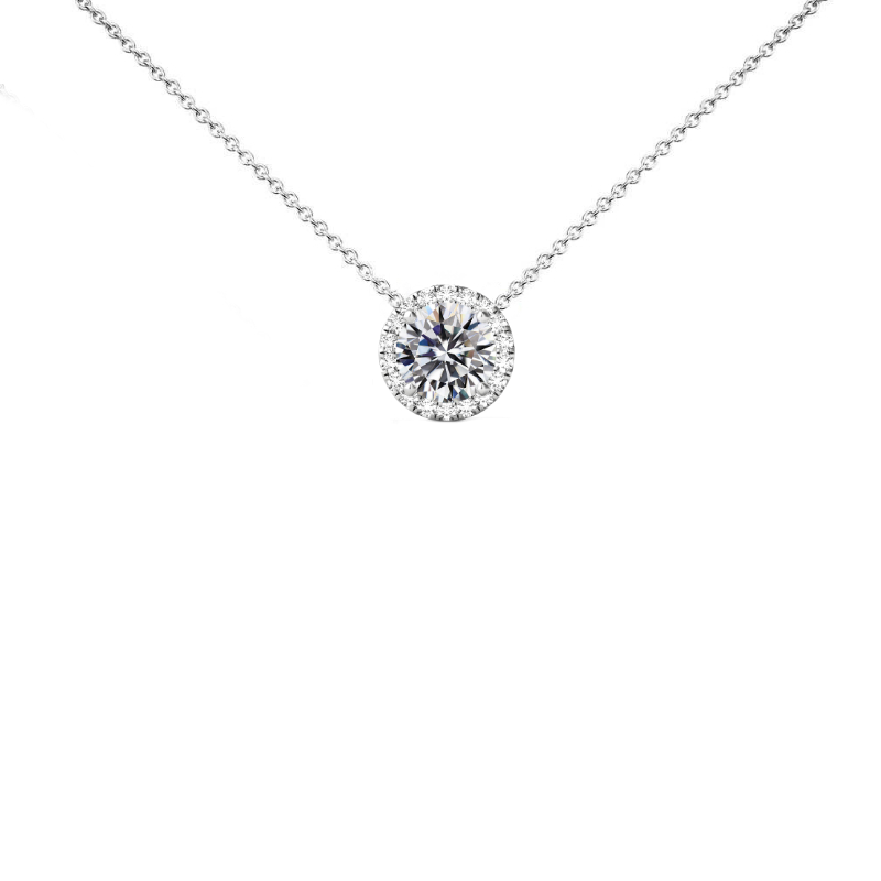 1 Carat Round Diamond & Halo Necklace