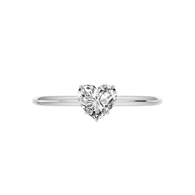 1 Carat Heart Diamond Knife Edge Solitaire Ring