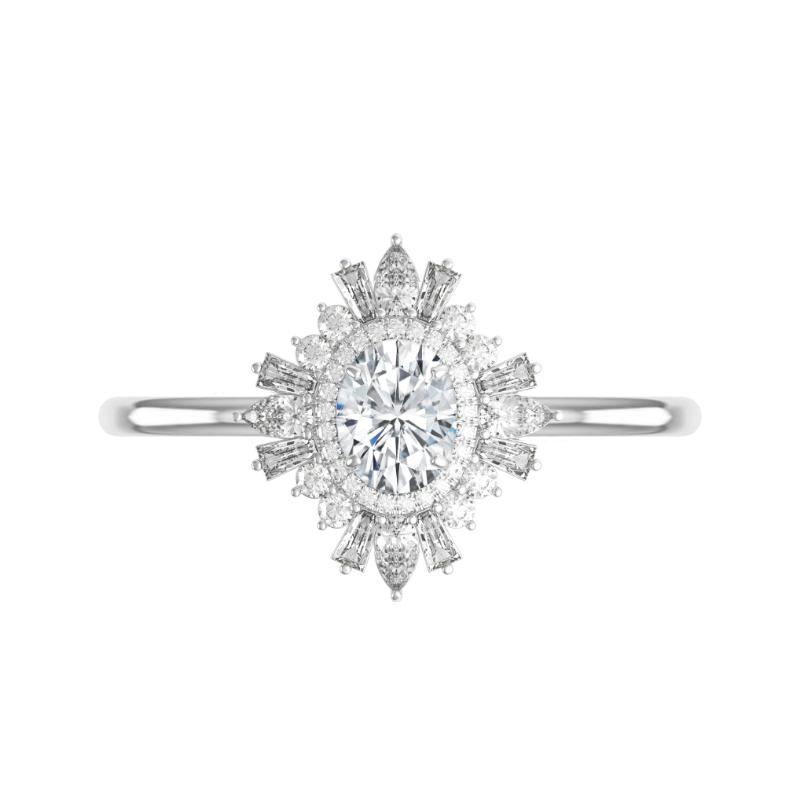 1 Carat Oval Moissanite & Art Deco Diamond Halo Ring