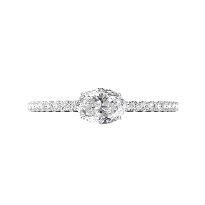 1 Carat Oval Diamond Horizontal Ring