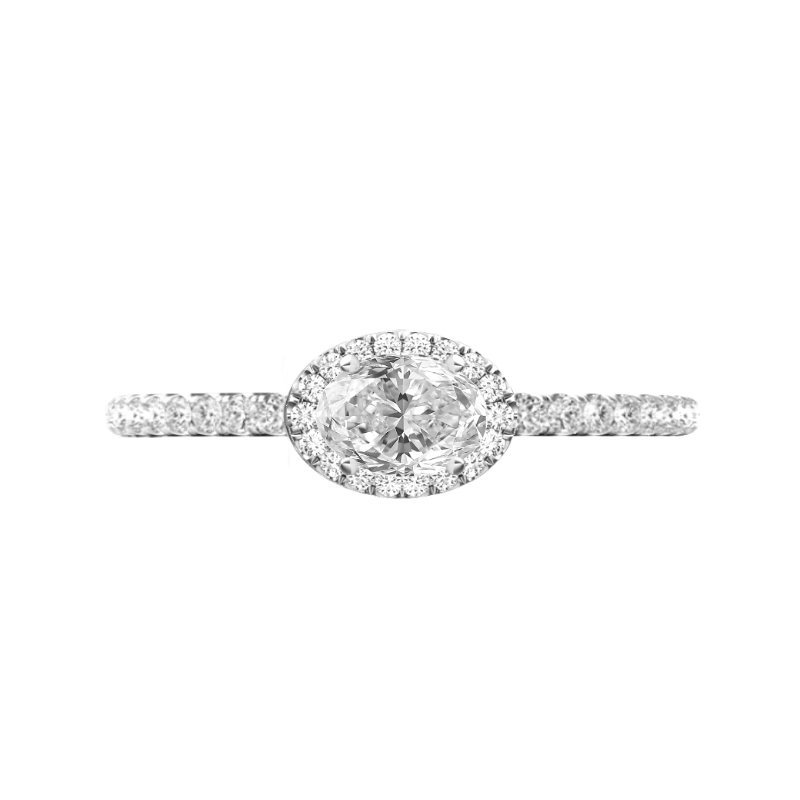 1 Carat Oval Diamond & Halo East West Ring