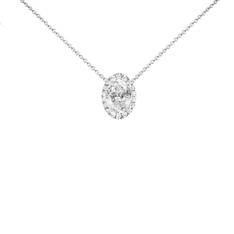1 Carat Oval Diamond & Halo Necklace