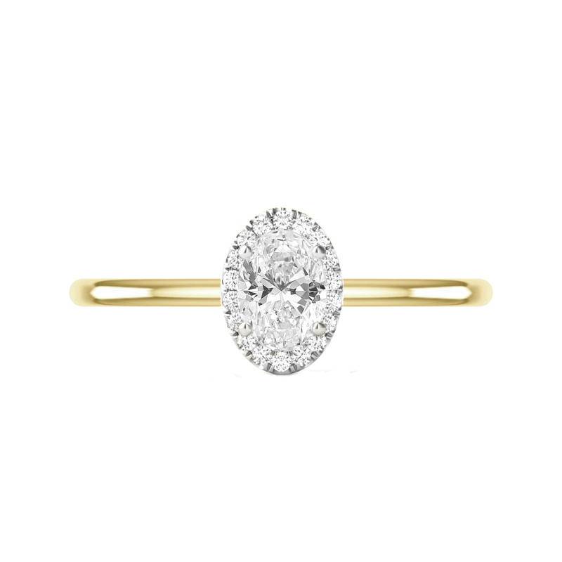 1 Carat Oval Diamond & Halo Two Tone Solitaire