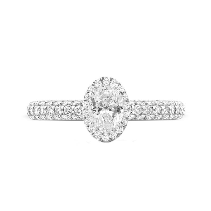 1 Carat Oval Diamond & Double Edge Halo Three Row Pave Ring