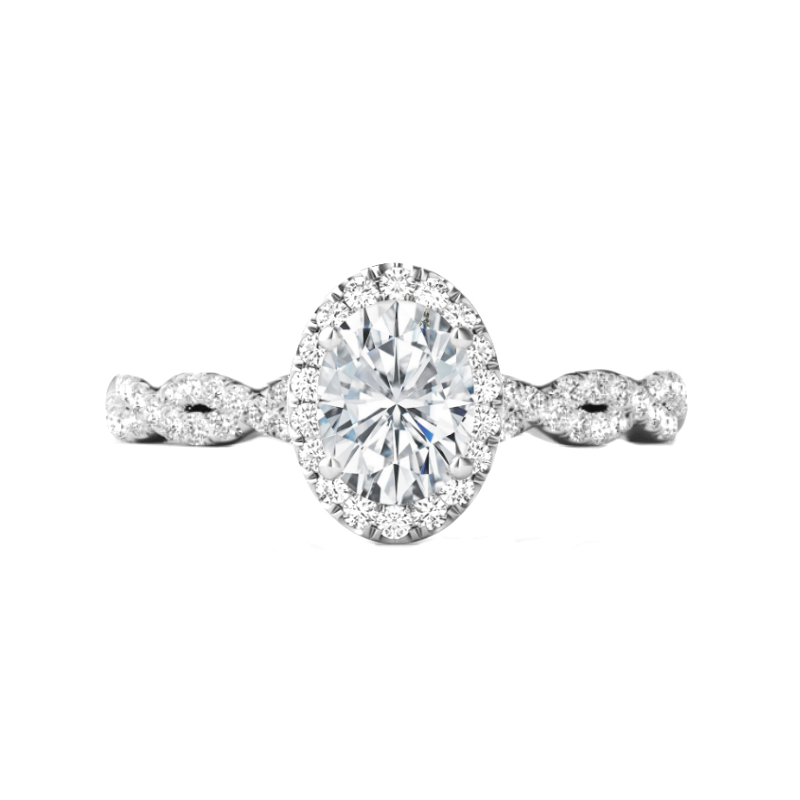 0.80 Carat Oval Diamond & Halo Twisted Shank Ring