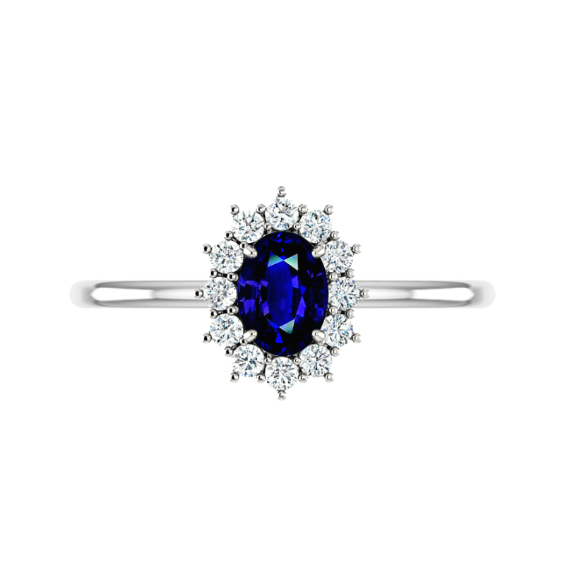 1 Carat Oval Blue Sapphire & Diamond Cluster Halo Ring