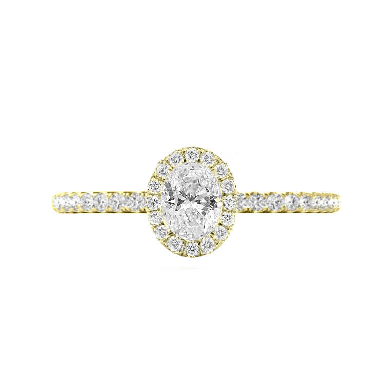 1.00 Carat Oval Diamond & 1.7mm Halo Ring Yellow Gold
