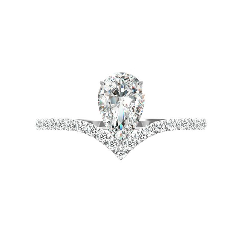 1 Carat Pear Diamond Chevron Ring