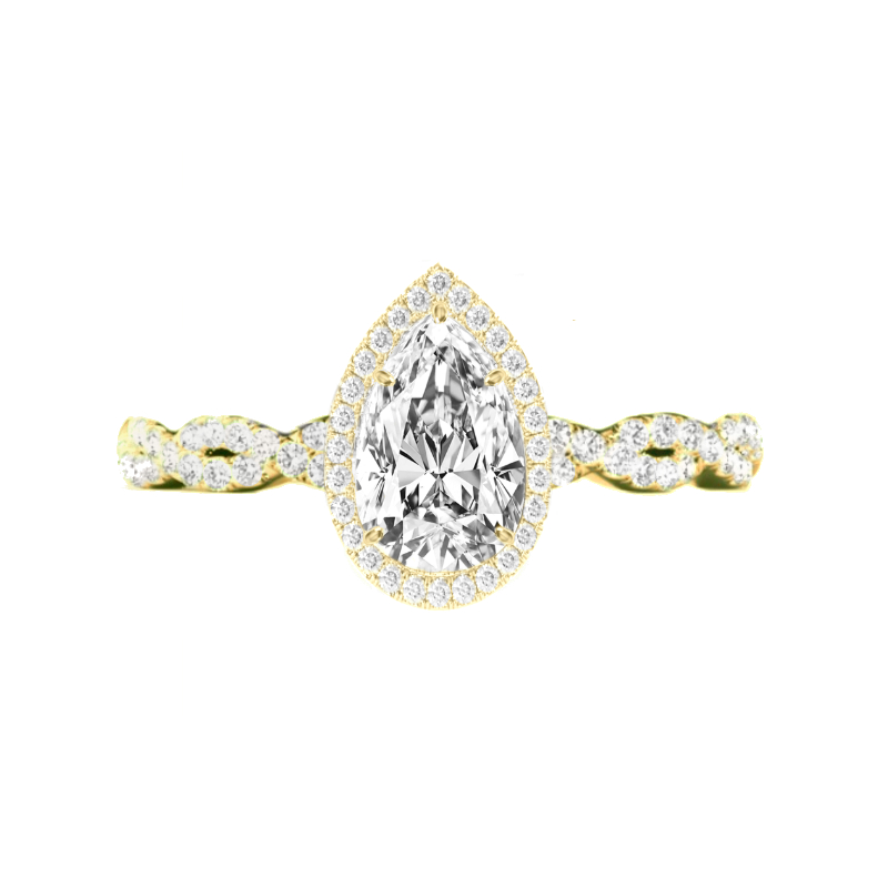 1 Carat Pear Diamond & Double Edge Halo Twisted Band Ring