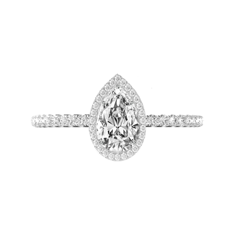 1 Carat Pear Diamond & Double Edge Halo Ring