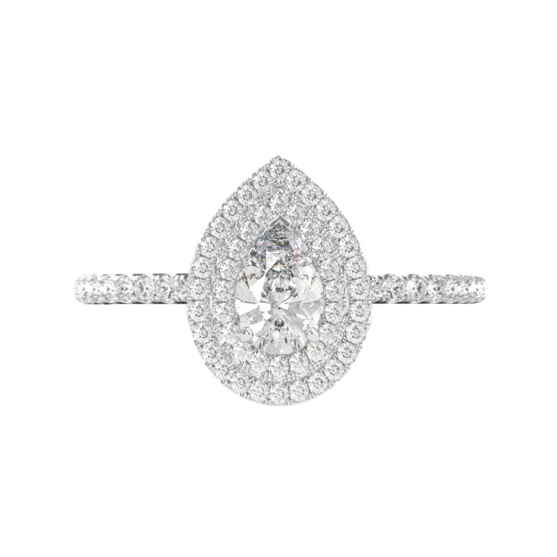 1 Carat Pear Diamond & Double Halo Ring