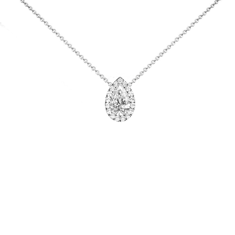 1 Carat Pear Diamond & Halo Pendant Necklace