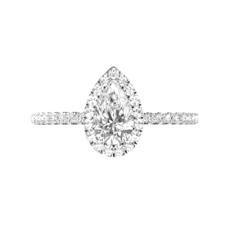 1 Carat Pear Lab Grown Diamond & Halo Ring