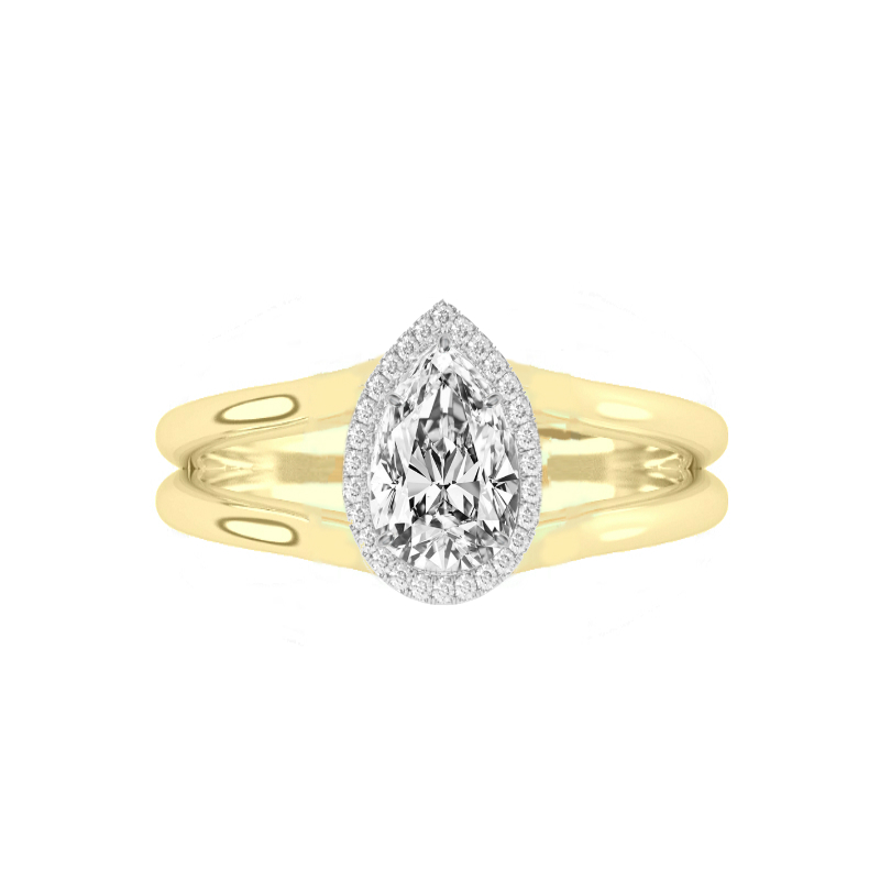 1 Carat Pear Diamond & Halo Split Band Solitaire Ring