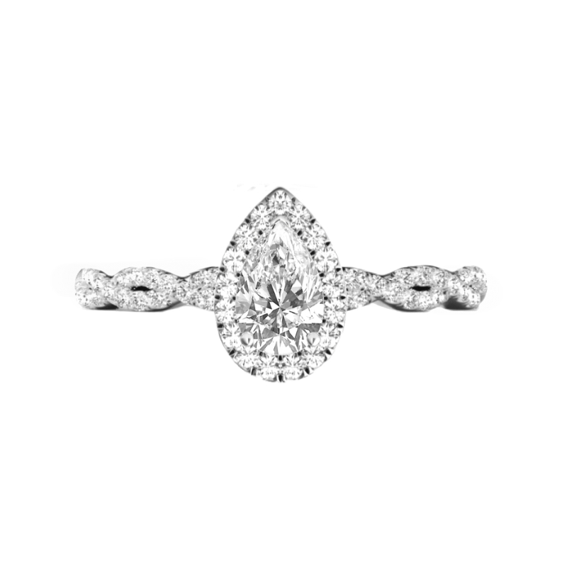 0.90 Carat Pear Diamond & Halo Twisted Band Ring