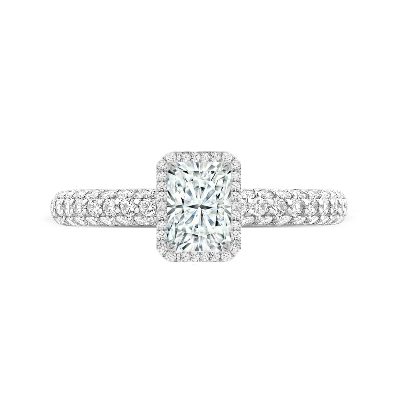 1 Carat Radiant Diamond & Double Edge Halo Three Pave Ring