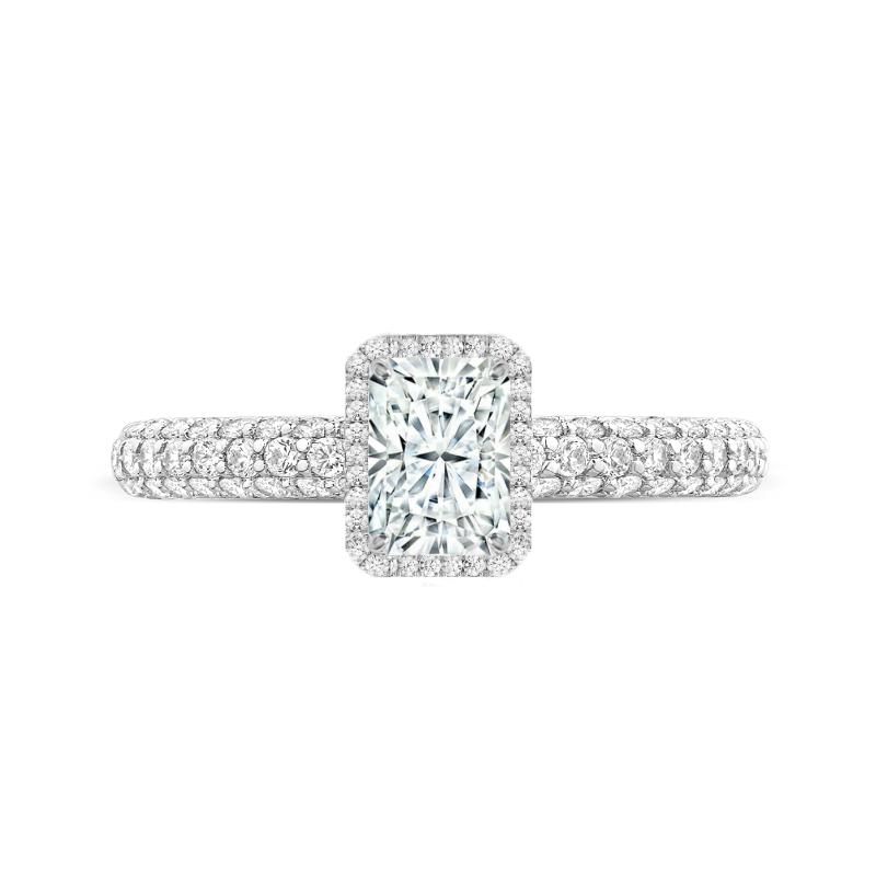 1 Carat Radiant Diamond & Double Edge Halo Three Pave Ring