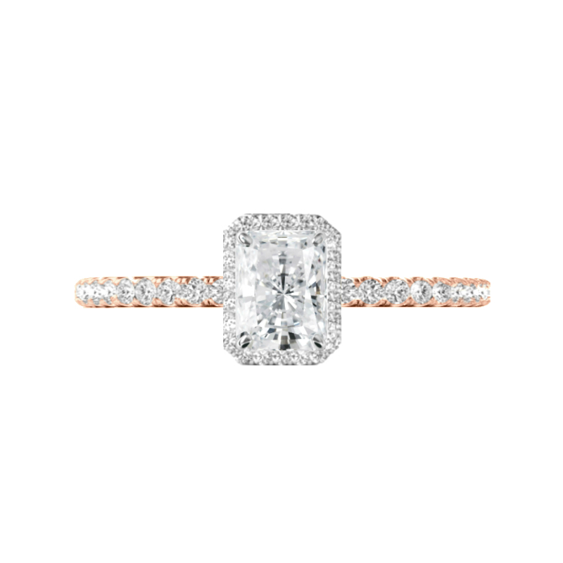 1 Carat Radiant Diamond & Halo Ring Two Tone Gold