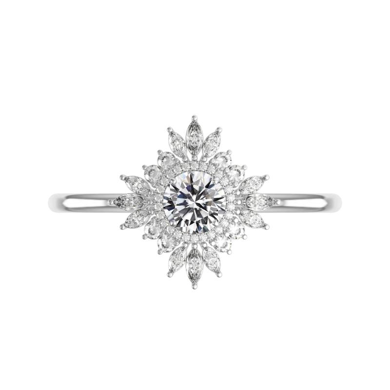 1 Carat Round Diamond & Art Deco Halo Ring