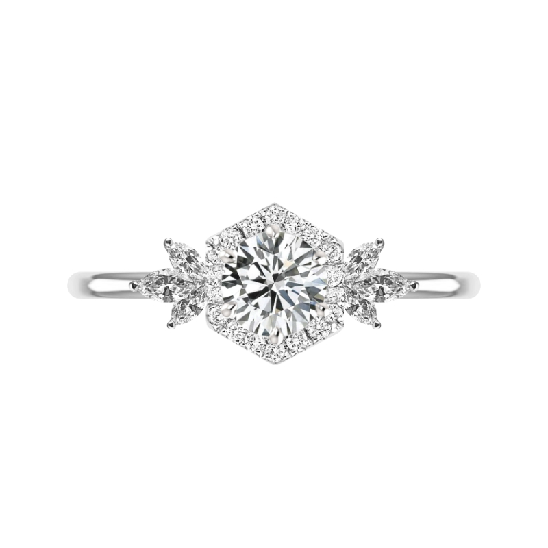 1 Carat Round Moissanite & Diamond Hexagon Halo Marquise Cluster Ring