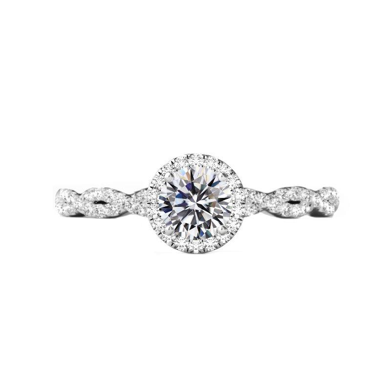 0.90 Carat Round Diamond & Halo Twisted Shank Ring