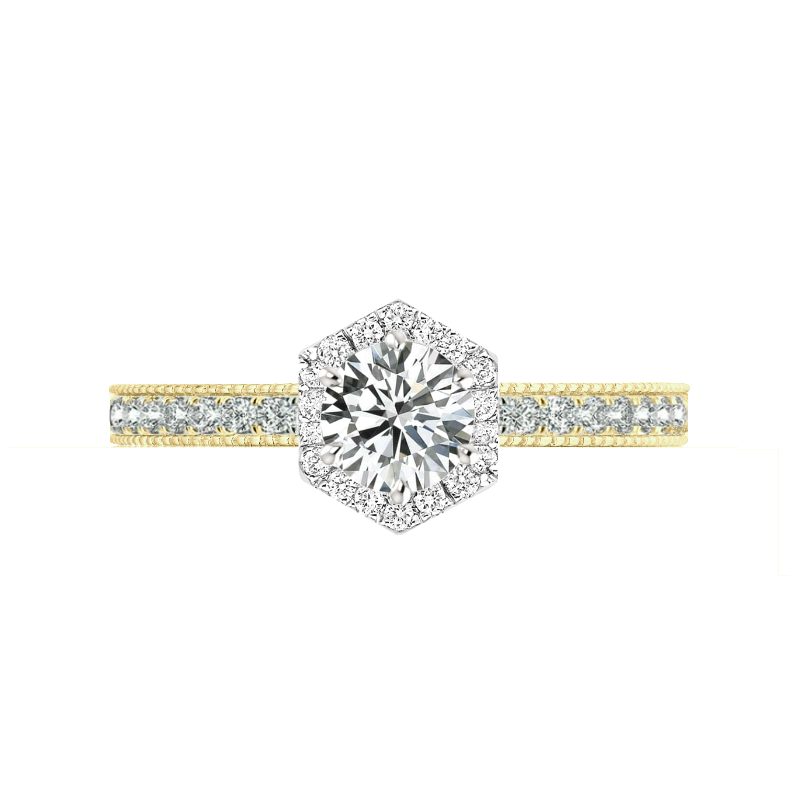 1 Carat Round Diamond & Hexagon Halo Bright Cut Ring