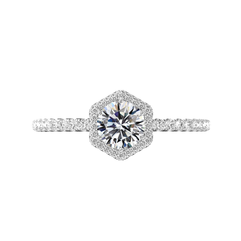 1 Carat Round Diamond & Double Edge Hexagon Halo Ring