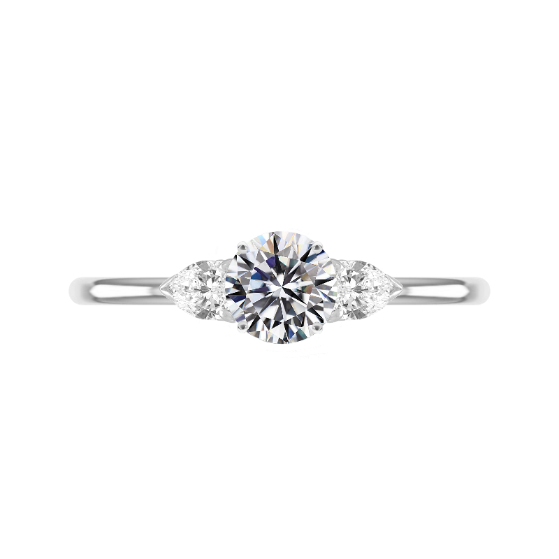 1.20 Carat Round Diamond & Pear Three Stone Ring