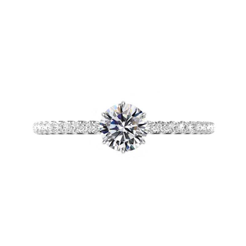 1 Carat Round Diamond & Six Prong Pave Ring