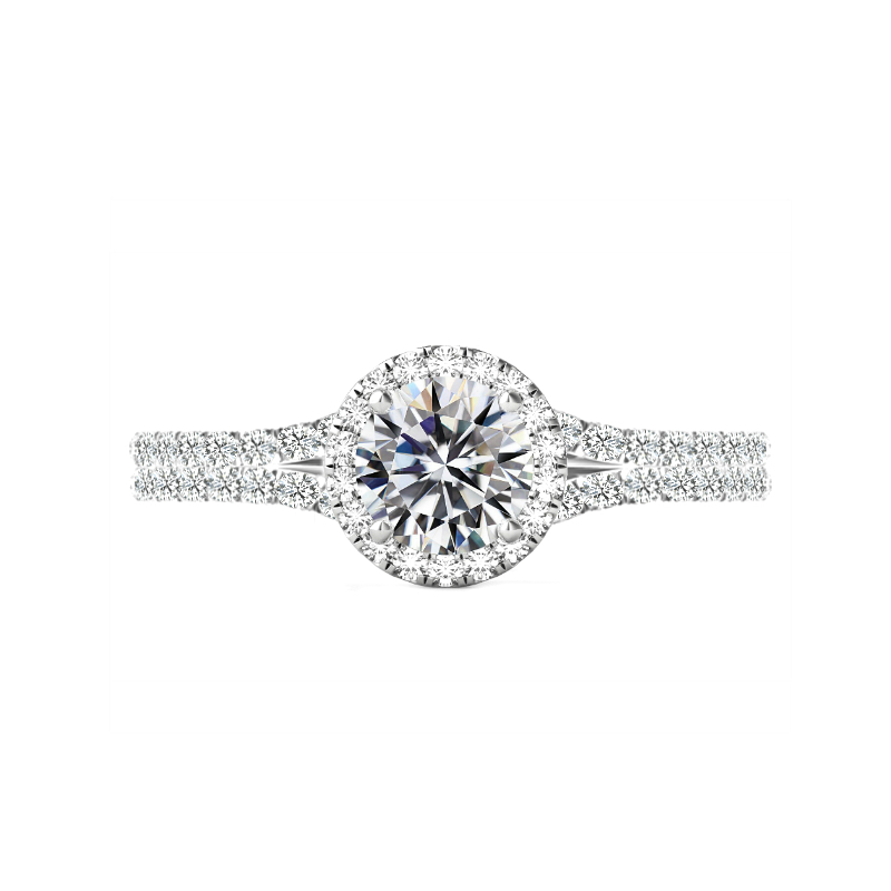 1 Carat Round Diamond & Halo Split Shank Ring