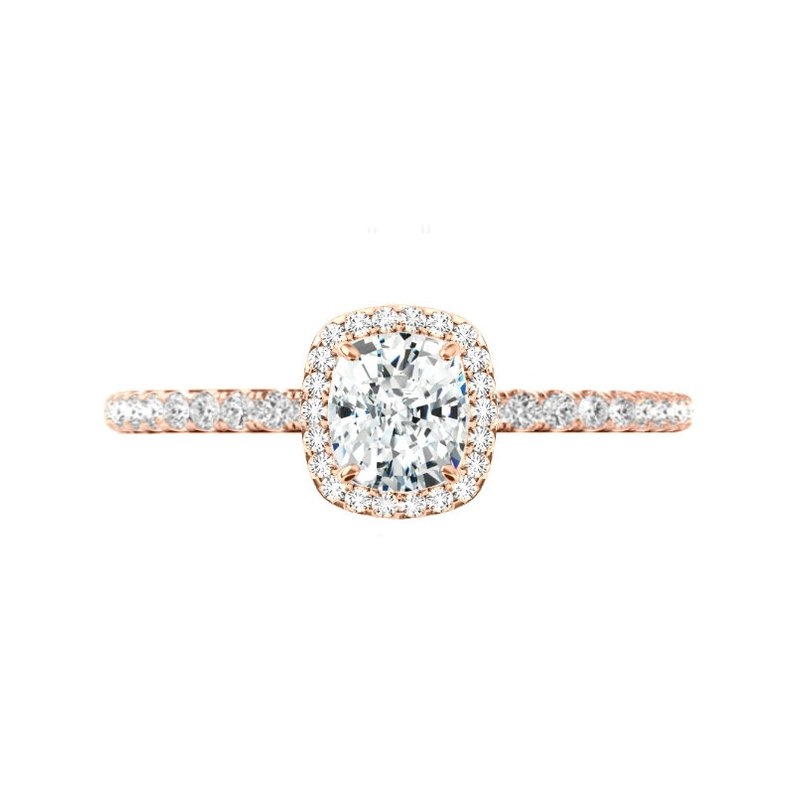 1.00 ct Cushion Diamond & Halo Engagement Ring Rose Gold