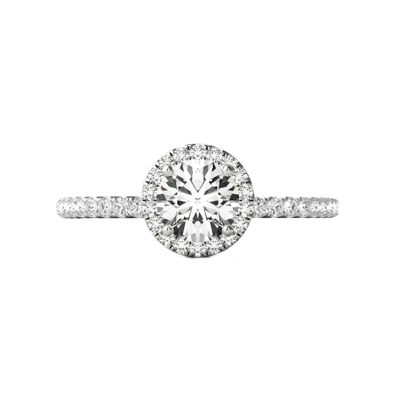 0.70 Carat Round Diamond & Halo Pave Ring