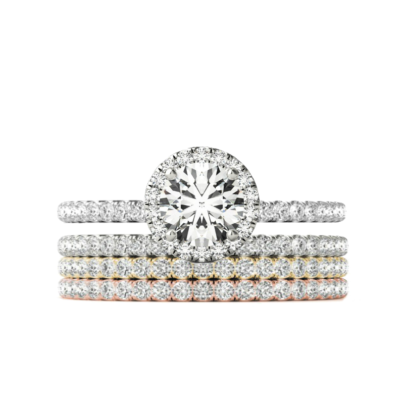 1.00 Carat Round Forever One Moissanite & Diamond Halo Tri Color Diamond Stackable Ring Set