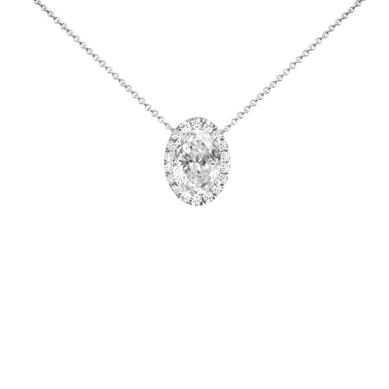 1.50 Carat Oval Diamond & Halo Necklace