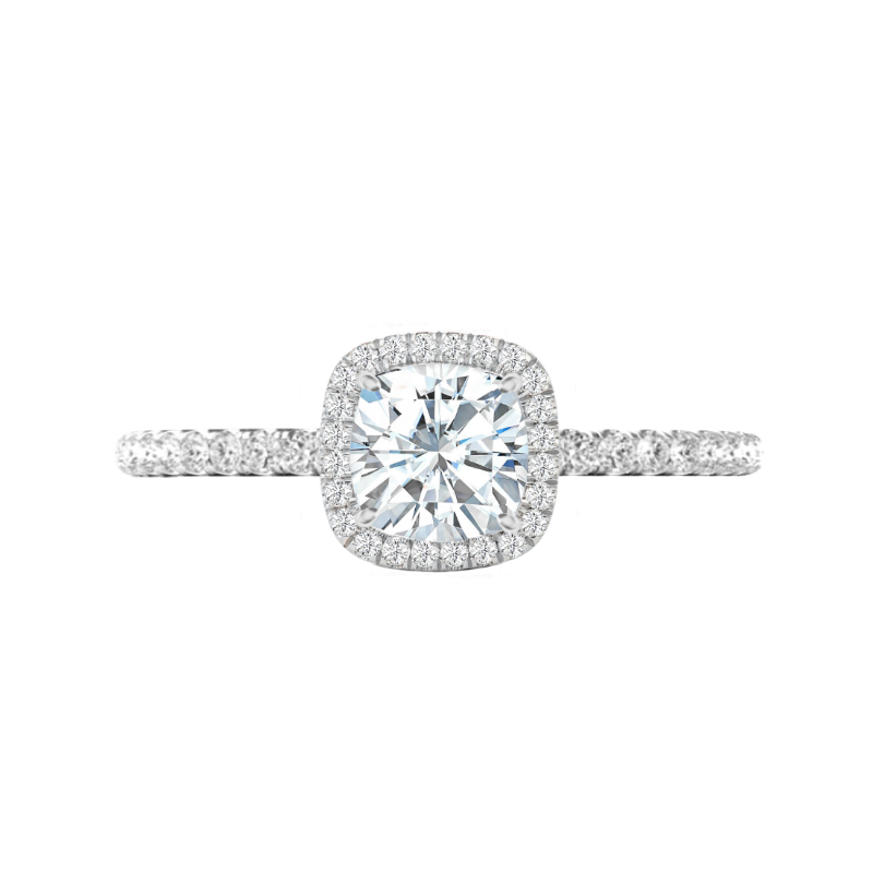 1.20 Carat Cushion Lab Grown Diamond & Halo Ring