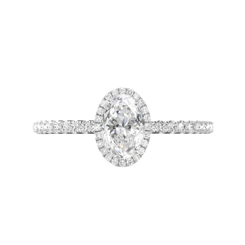 1.20 Carat Oval Lab Grown Diamond & Double Edge Halo Ring